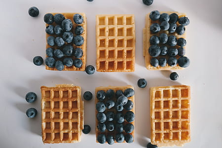 blueberries on waffle bread