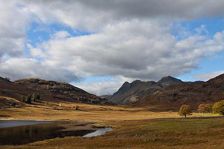 Wide-angle landscape shot taken at Blea Tarn, Lake District, Cumbria, England