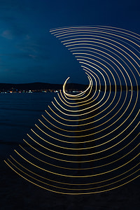 Light painting on the beach at nigh