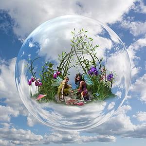 two fairies near purple petaled flowers inside bubble digital wallpaper