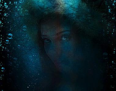 woman underwater painting