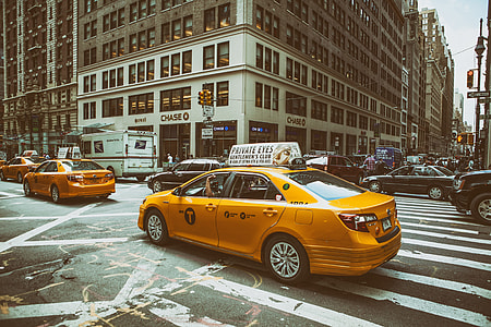 Street shot of traffic on the busy roads of Midtown Manhattan in New York City