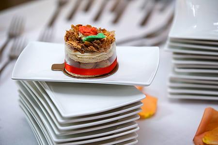 chocolate cake on rectangular white ceramic plate