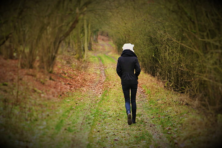 photo of person walking near forest