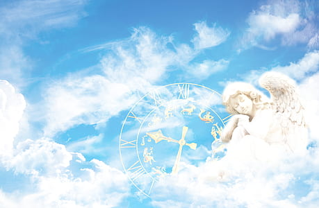 blue sky, white clouds and angel illustration