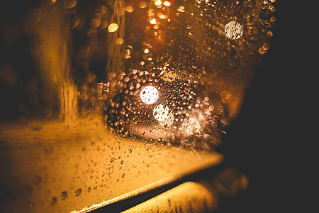 Rainy Street at Night from Car