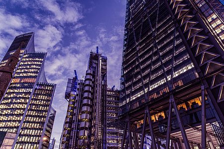 Wide-angle shot taken at dusk in the financial district of London