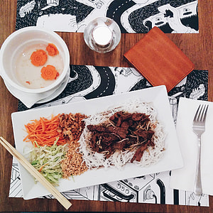 Vietnamese Bun Bo Nam Bo in a restaurant