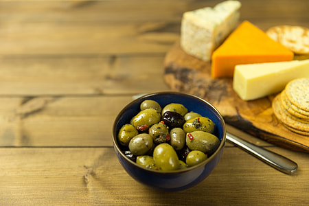 Olives and cheese selection