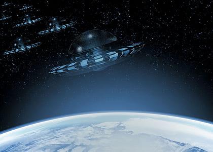 round black aircrafts near earth digital wallpaper