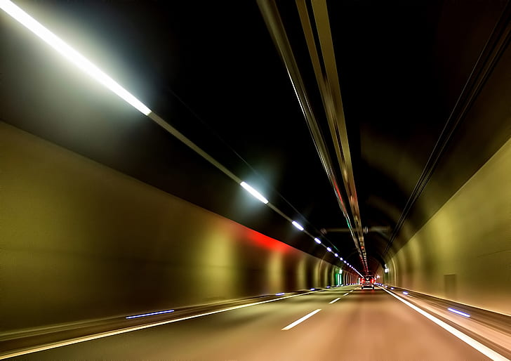 photography of beige painted tunnel