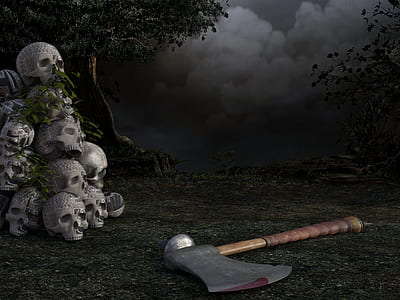 brown handled axe on ground beside gray human skulls