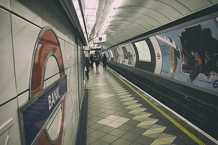 A shot from the platform of the Bank tube station on the London Underground