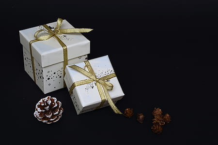 two white gift boxes