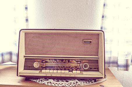 vintage gray tuner radio