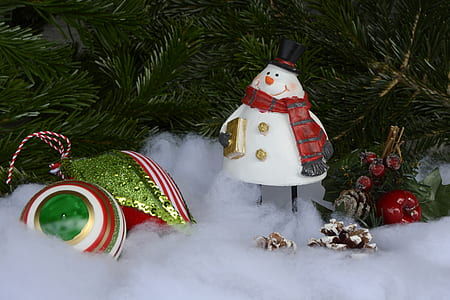photo of snowman ornament beside Christmas tree