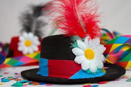 white, black, and re floral fedora hat