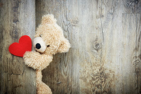 brown bear plush toy holding red heart ornament