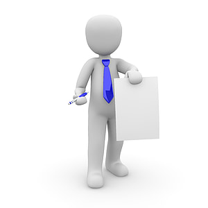 man holding paper and pen vector