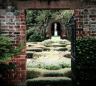 green garden with statue