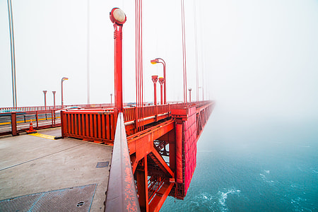 Walking on The San Francisco Golden Gate Bridge Covered in Fog