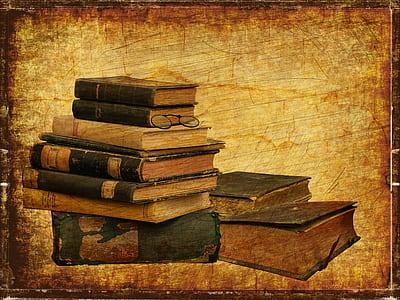 rustic stack books wallpaper