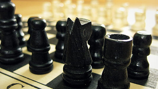 black wooden chess set
