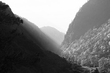 black and white photography of a mountain