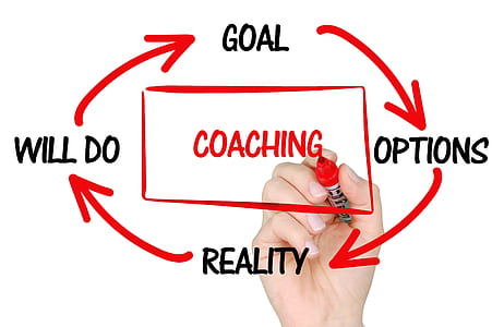 person holding red marker sketching cycle of coaching