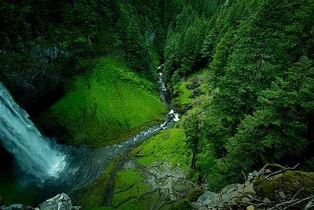 high angle photography of waterfalls