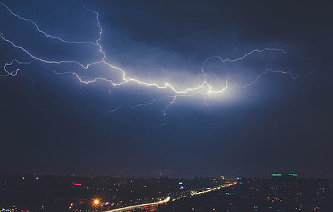 lightning, night, sky, skyline