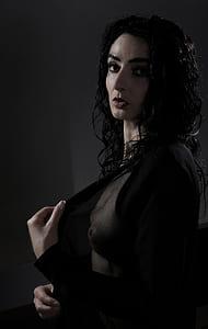 woman wearing black sheer cardigan