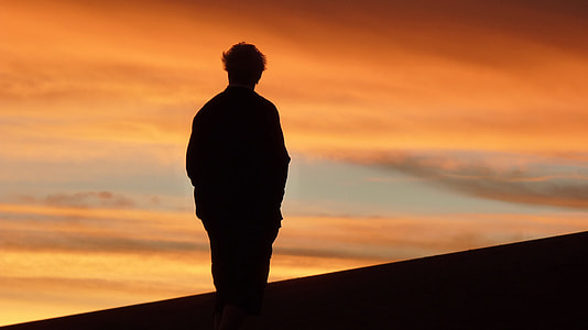 silhouette photography of man during golden hour