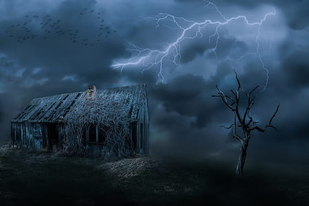 lightning over house and bare tree