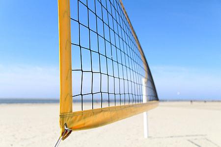Volleyball net on a sandy beach
