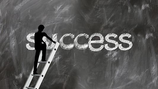silhouette of man climbing through success