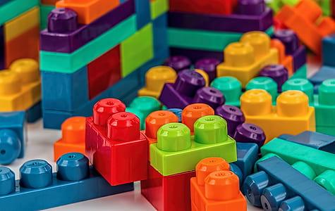 assorted plastic block toys
