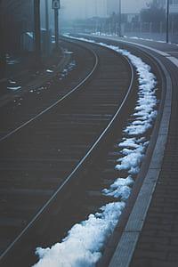 train railway with snows