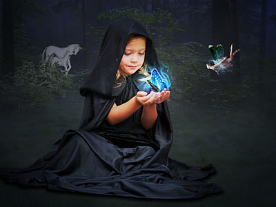 girl wearing black robe with butterfly on hand
