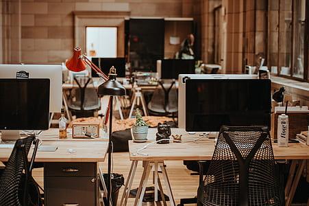 desk, office, computer, screen, lamps