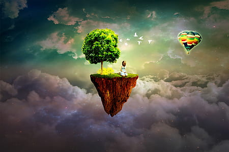 man sitting on floating island above clouds illustration