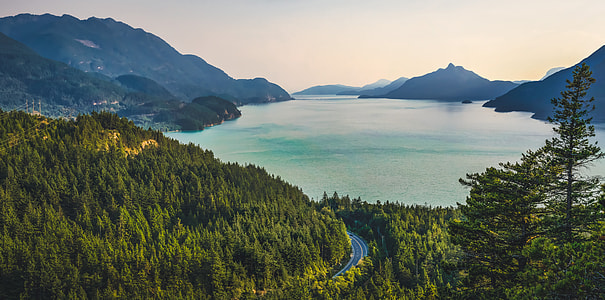 landscape photography of lake surrounded by mountains