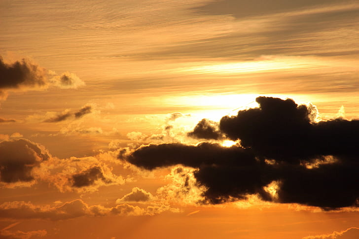 sunset, sun, clouds, dark clouds, bright cloud, contrail