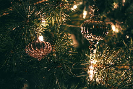 Selective Focus Photography of Christmas Baubles With String Lights