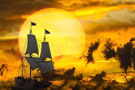 beige galleon ship photo during daytime