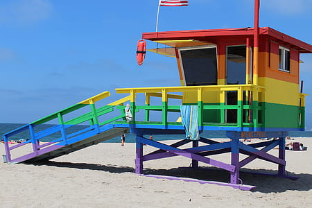 multicolored lifeguard tower