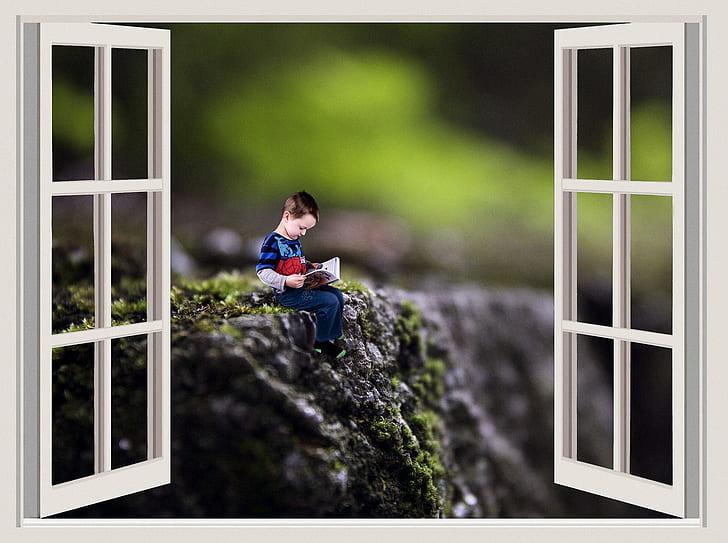 boy reading book digital wallpaper