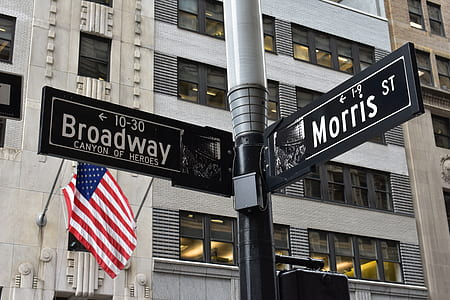 Grey and Black Broadway and Morris Street Signage Near U.s. Flag