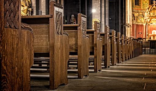 brown church benches