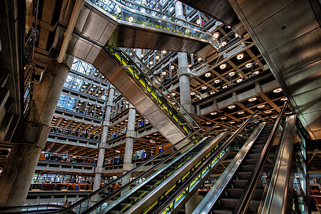 Interior shot taken at Lloyds of London, a financial institution in the City of London